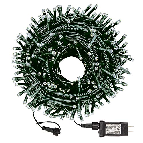 JUXUN 300 LED Christmas String Lights Outdoor Tree Lights 109 Feet End-to-End Plug, UL Listed 8 Modes Waterproof Starry Light for Garden Patio Holiday Indoor Outdoor Decor, Warm White