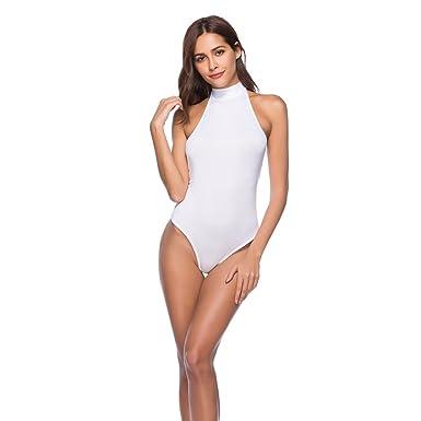 Dooxi Femmes Mode sans Manches Bodysuit Bandage Danse Gym Léotard Top  Justaucorps Blanc S d1826f35cc0