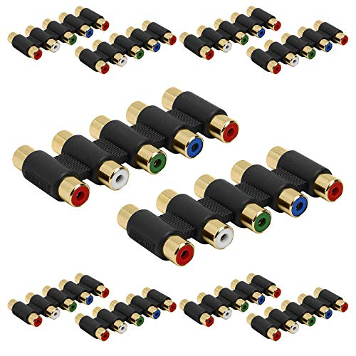 Cmple - 5-RCA Female Adapter Audio Video 5 RCA RGB Component Video Audio Gold Plated Coupler Splitter - (10 Pack)