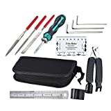 #6: ammoon Guitar Repairing Maintenance Cleaning Tool Kit Includes String Organizer & String Action Ruler & Gauge Measuring Tool & Hex Wrench Set & Files for Guitar Ukulele Bass Mandolin Banjo