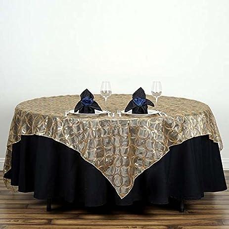 amazon com tableclothsfactory 85x85 wedding gold organza table