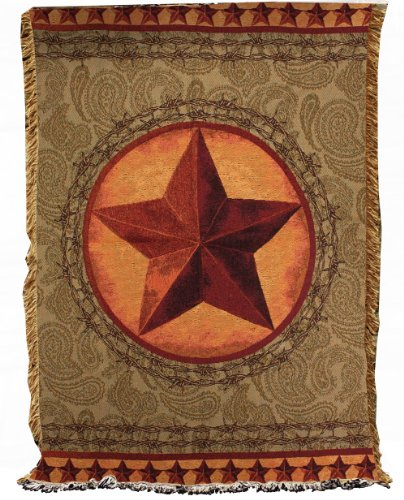 Manual Western Décor Collection 50 x 60-Inch Tapestry Throw, Western Star (Most Beautiful Places In Texas Hill Country)