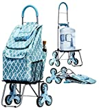 Bigger Trolley Dolly Stair Climber, Moroccan Tile Grocery Foldable Cart Condo Apartment