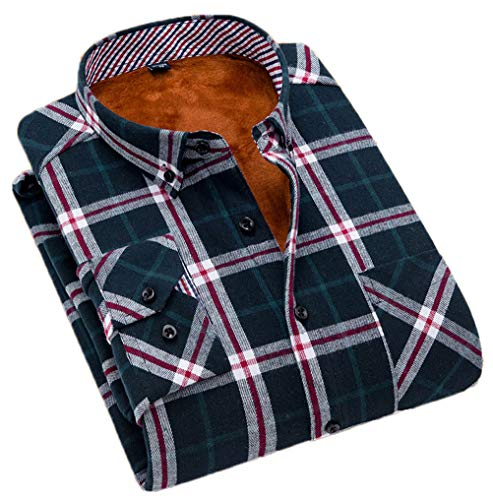 Soojun Men's Fleece Lined Plaid Thermal Flannel Shirt, F38, Large(US 42)