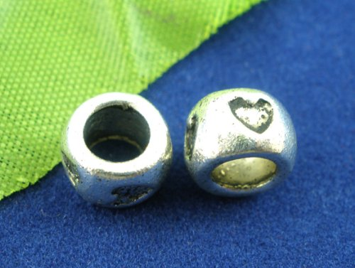 PEPPERLONELY 40pc Antiqued Silver Alloy Spacer Beads Large Hole Heart Carved Charms Pendants 8x5mm (5/16