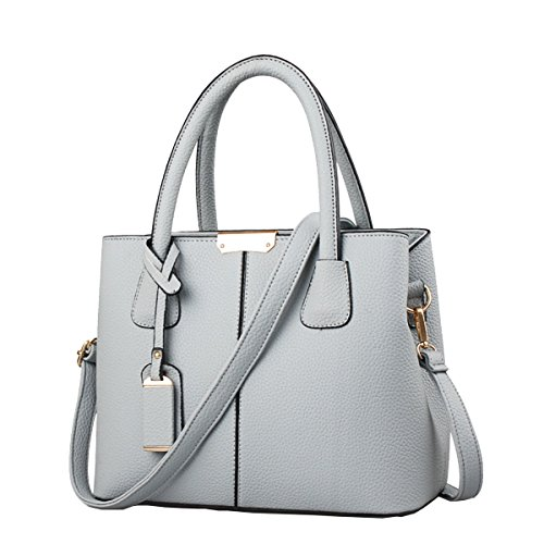B&E Life Stylish Women Pu Leather Vertical Utility Top Handle Handbag Satchel Tote Purse Bag (Grey)