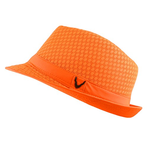 Black Horn Light Weight Classic Soft Cool Mesh Fedora hat (L/XL, Orange)]()