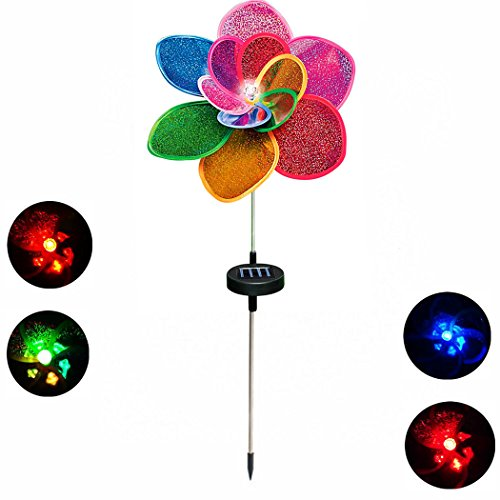 Wings.®Solar Windmill 12-Petal Flower Spinner Garden Stake Light with Color Changing LEDs - Home Improvement Landscape Lights - Decorative In-Ground Light - Led Patio Lights Solar(Colorful Floral) (Flowers Windmill)