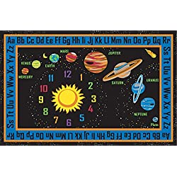 "Kid Carpet FE736-34A Outer Space Nylon Area Rug, 6' x 8'6"", Multicolored"