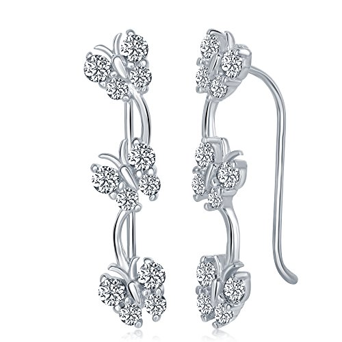 (Ladies Womens And Girls 925 Sterling Silver Cubic Zirconia Butterfly Ear Climber Earrings Long Pins)