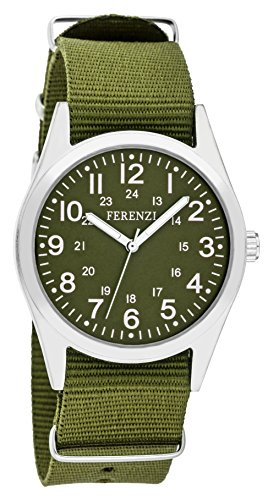 Unisex Watches by Ferenzi - Vintage Olive Military-Style Canvas Strap Watch - Make Every Second Count - (Olive Canvas Strap)