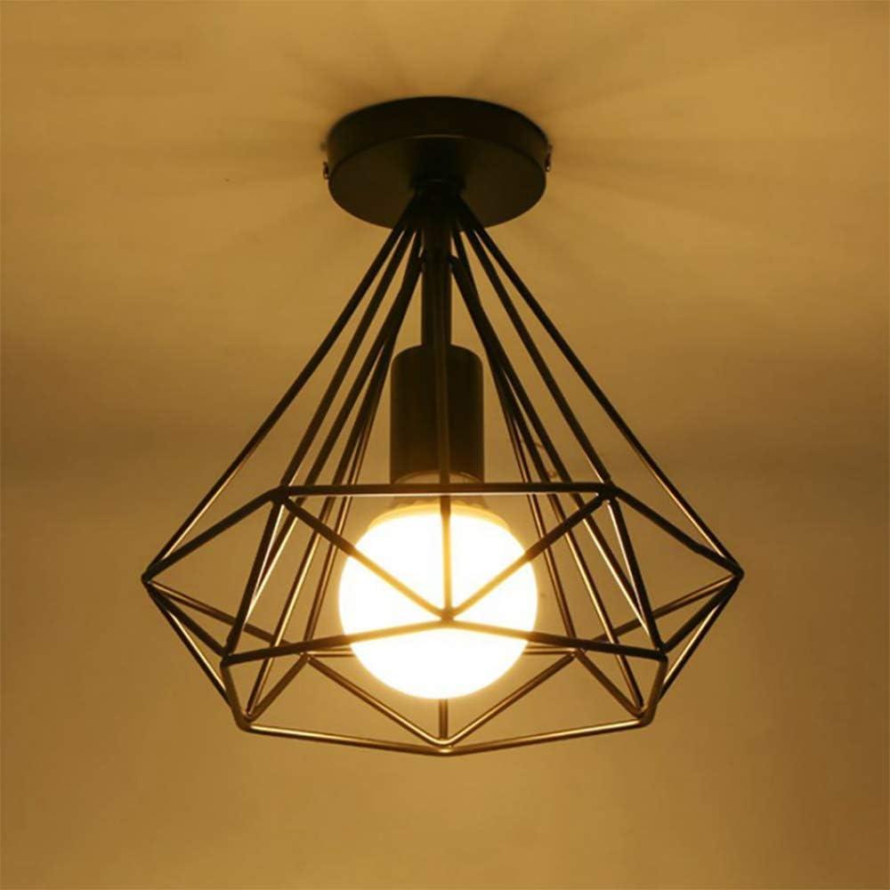 Vintage Industrial Plafones Lámpara de techo metal Lámpara de techo en negro jaula de hierro, para pasillo, porche, salón, cocina, salón, dormitorio (negro)