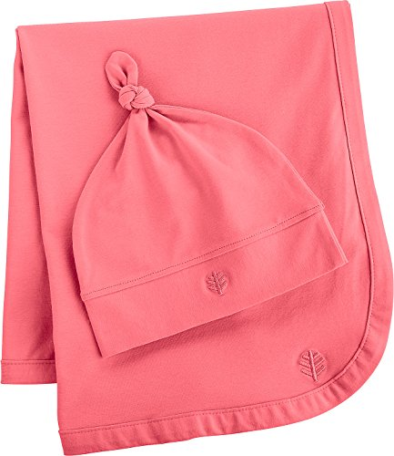 Coolibar UPF 50+ Baby Beanie Hat and Blanket Set - Sun Protective (One Size- Hibiscus Pink)