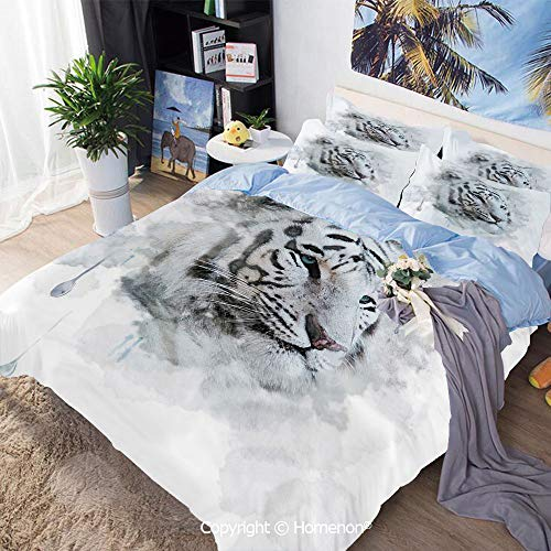 Homenon 3 Piece Bedding Set,Artistic Portrait of a White Tiger Wild Nature Predator Watercolor Splashes Decorative,Twin Size,Hypoallergenic,Cool Breathable,Black Grey White