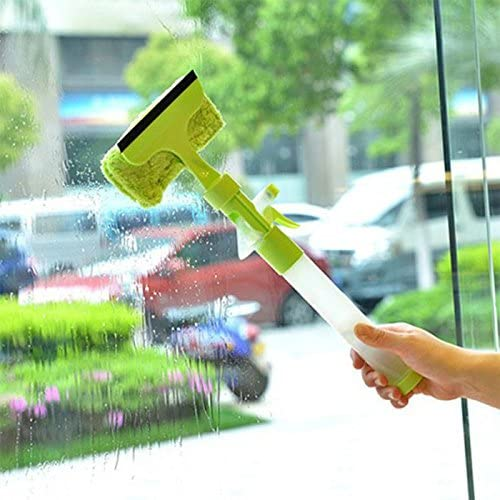 Purewill Shower Squeegee Bathroom Mirror Wiper Car Glass Cleaner 3 in 1 Window Glass Cleaner Wiper Scraper Brush Cleaning Tools with Cloth Pad Blue