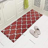 Carvapet Comfort Anti-Fatigue Kitchen Standing Desk Mat Waterproof Decorative Ergonomic Floor Pad Kitchen Rug, Moroccan Trellis Red 18'x47'