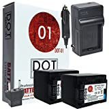 2x DOT-01 Brand Canon HF R800 Batteries and Charger for Canon HF R800 camcorder and Canon HFR800 Battery and Charger Bundle for Canon BP718 BP-718