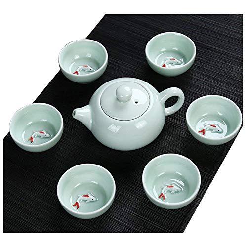 Chinese Jade Cup (JKCOM Chinese Kung Fu Tea Set, Porcelain Handmade Ceramic Tea Service Fish Tea Cup (7))