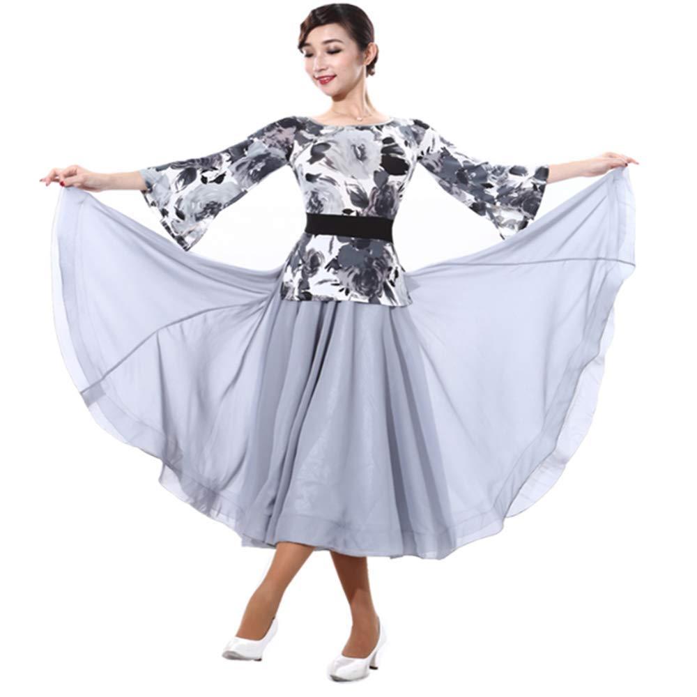 Dance wear Modern Waltz Standard Ballroom Dress Fake Two Pieces Bell Sleeve Big Pendulum Adult Performance Skirt
