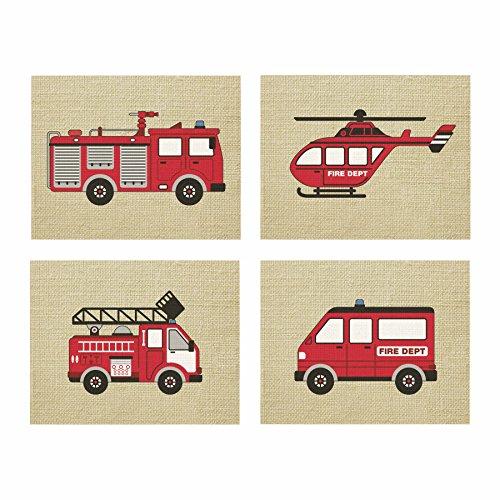 Artdash exclusive Boy's Bedroom Art Prints: FIRE TRUCKS & Burlap (DR071) (8