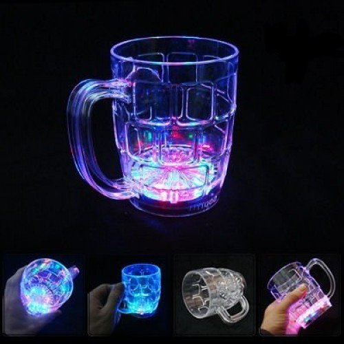 Set of 6 Light Up Multi color Flashing Glasses with Blinking LED Lights - LED Cups Mugs Shots Glasses for Beer Wine Whisky Liquid Bar Club Drink Party Supplies (Beer (Flashing Beer Mug)