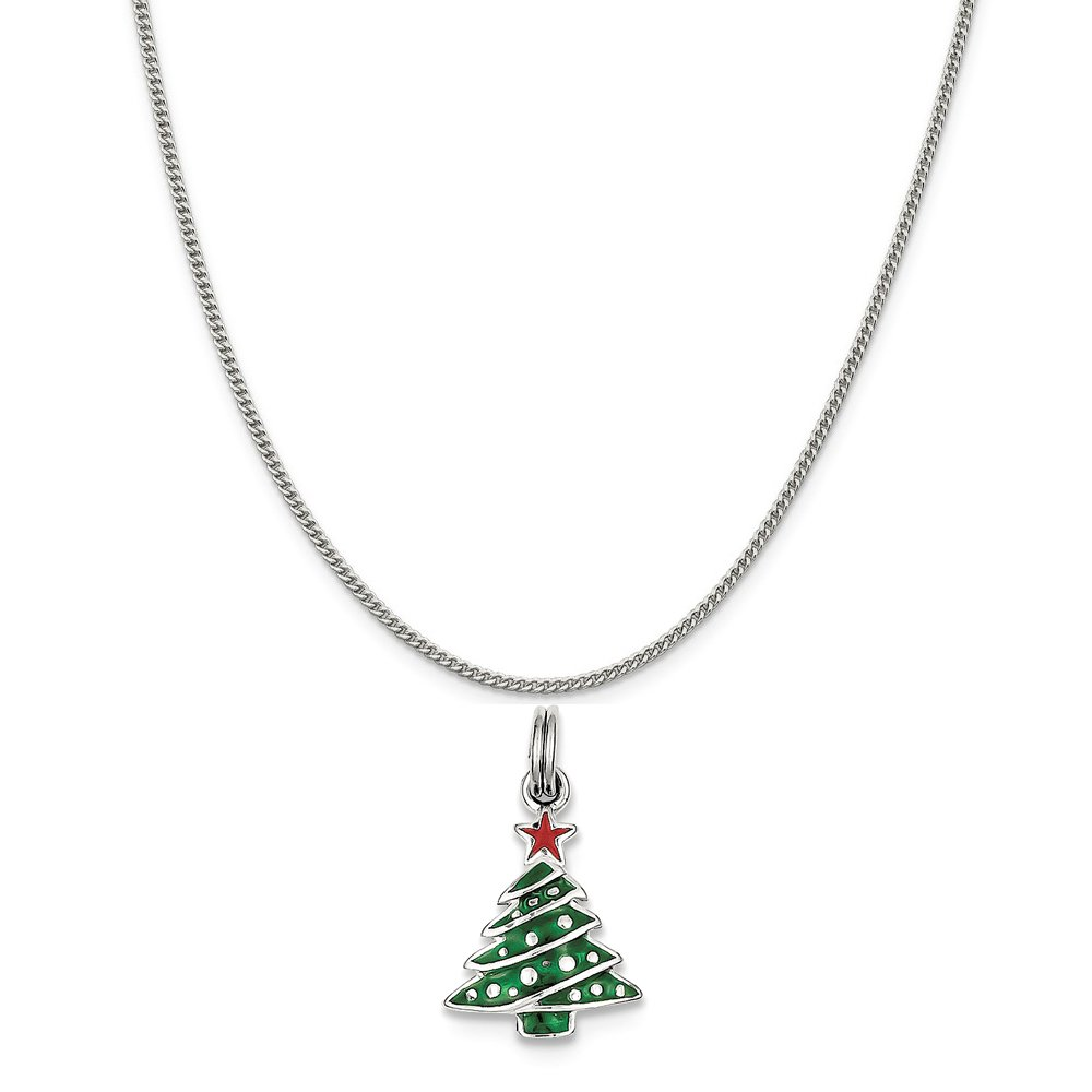 Mireval Sterling Silver Enamel Christmas Tree Charm on a Sterling Silver Chain Necklace 16-20