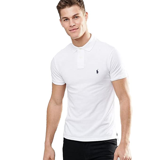 Ralph Lauren Polo para Hombre Small Pony Slim FIT (XXL, Blanco ...