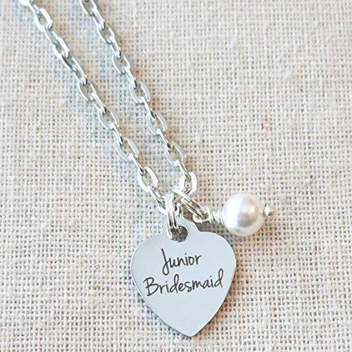 JR BRIDESMAID NECKLACE, Junior Bridesmaid Gift, Jr BRIDESMAID Charm Necklace, Junior Bridesmaid Keepsake, Junior Bridesmaid Thank You]()