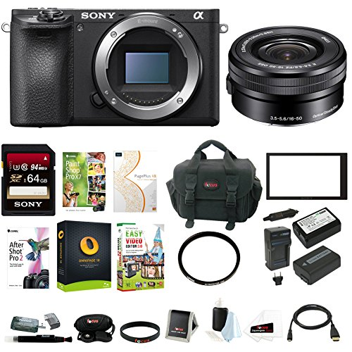 Sony a6500 Mirrorless ILC Camera w/ 16-50mm f/3.5-5.6 Zoom Lens Bundle by Sony