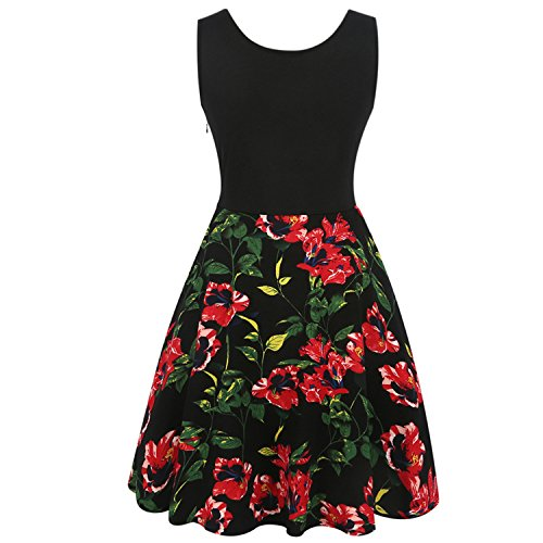 Dalyght Fashion Retro Big Swing Floral Pinup Women Dresss Black (Loft 9 Drawer Dresser)