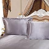 Silver Gray Silk Pillowcase Grey Silk Pillow Sham, Include 2 Standard Pillowcases, Envelope Closure, Prevent Side Sleeping Wrinkles, Have Good Dreams.