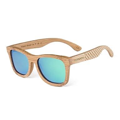 VOBOOM Men Women Carbonized Bamboo Sunglasses Polarized Bamboo frame ...