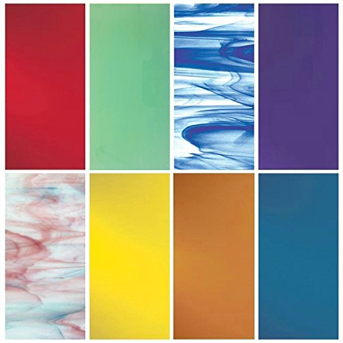 """iDichroic Spectrum System 96 COE Fusible Glass Pack, 8 Deluxe 6"""" x 6"""" (Opal System 96 Coe Glass)"""
