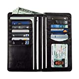 italian leather coat - Mens Long Bifold Checkbook Cover Wallet Multi Card Pocket Holder Italian Leather