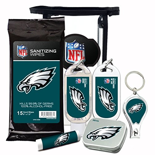 (Philadelphia Eagles 6-Piece Fan Kit with Decorative Mint Tin, Nail Clippers, Hand Sanitizer, SPF 15 Lip Balm, SPF 30 Sunscreen, Sanitizer Wipes. NFL Football Gifts for Men and Women)
