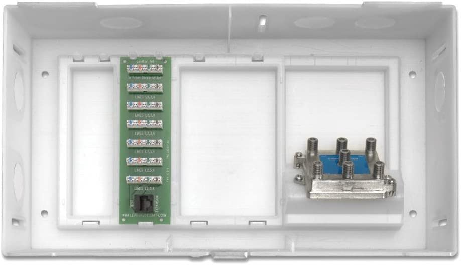 MDU Kit Plus 1 X 6 Telephone Expansion Board and 6-Way Video Splitter White ABS Enclosure and Cover Leviton 47604-F6S Multi Dwelling Unit