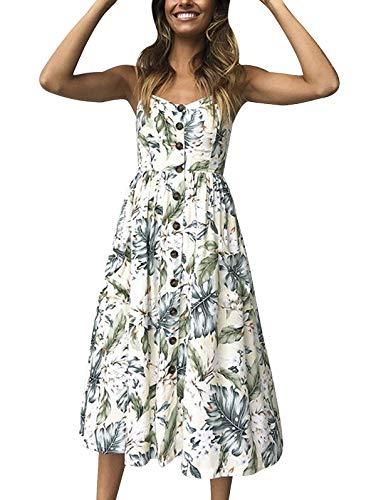 SWQZVT Women's Dress Summer Spaghetti Strap Sundress Casual Floral Midi Backless Button Up Swing Dresses with Pockets Light Yellow XL
