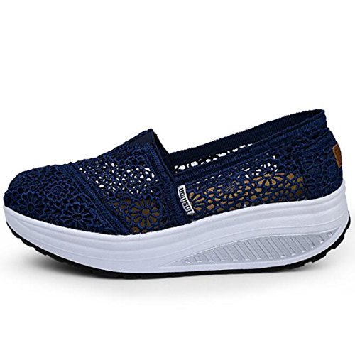 Lisyline Womens Virka Form Ups Slip-on Toning Sko Walking Sneaker Mörkblå