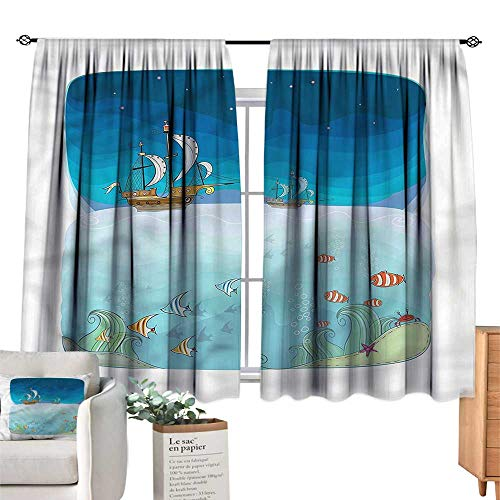 WinfreyDecor Fantasy Thermal Curtains Night Scene Pirate Ship Suitable for Bedroom Living Room Study, etc.55 Wx72 L (Lord Of The Rings Pirate Ship Scene)