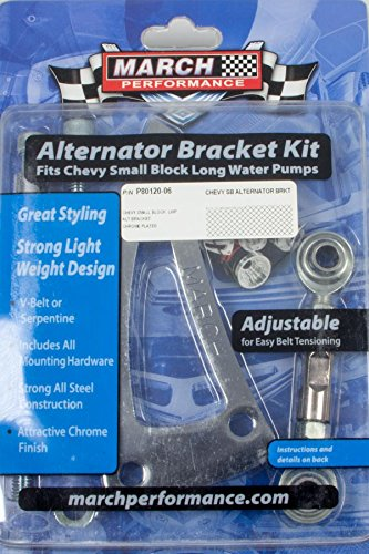 March Performance P80120-06 Chrome Plated Steel Alternator Bracket Kit (Long Water Pump)