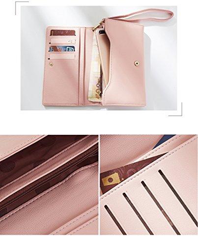 Ruiren Mode Brieftasche Frauen Lange Einfache Brieftasche, Frauen Clutch Geldbörse Leder Brieftasche Kartenhalter Handtasche Taschen Geschenke Grau