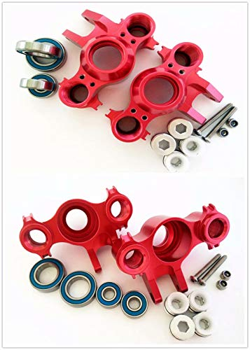 for 1/10 RC Car E-REVO REVO 3.3 Summit E/MAXX T/MAXX 3.3 Slayer Pro 4X4 5334R Aluminum Front and Rear Steering Block Knuckle Arm W/Rubber Shelded Bearing -2PR Set Red