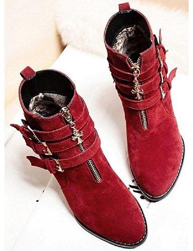 La Cn39 Zapatos Moda Vellón us8 Rojo Casual Trabajo Vestido Eu39 Y 5 Uk6 5 7 De Xzz Tacón Uk4 Botas Mujer 5 Beige Robusto Red Beige A Eu37 Cn37 Negro Oficina us6 Bd06q8