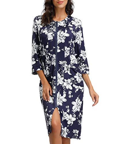 Womens Zipper Bathrobes Knee Length Floral Bridesmaid Robe with Pockets Bride Robe Navy Blue S