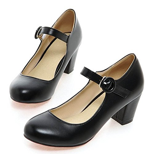 CHFSO Women's Round Toe Ankle Strap Buckle Chunky Heel Low Cut Pumps Shoes Black 9 B(M) (Black Leather Formal Slip)