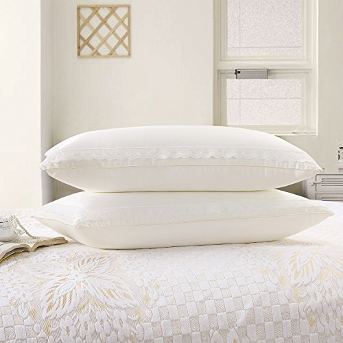 AMZ Original Bed Pillows for Sleeping, Super Plush Antimicrobial Cellulose Fiber Bed Pillow with Lace Edgings Design, Neck Pain Relief (2 Pack)