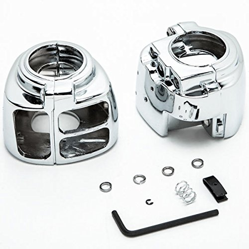 Krator Chrome Handlebar Switch Housings Control Cover Kit For 1996-2010 Harley Softail (Except Fatboy 07-10)