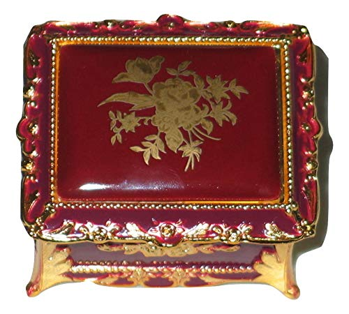 (Burgundy & Gold Rectangular Shaped Musical Jewelry Box playing All I Ask of You)