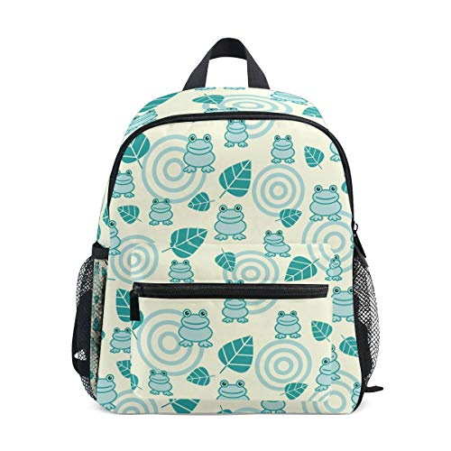 Blue Tree Frog Leafs Kid Backpack 12 inch Toddler Bookbag Travel School Bag