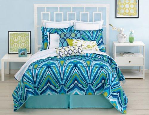 Trina Turk 3-Piece Blue Peacock Comforter Set, Twin, Blue